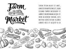 Iscrizione calligrafica del mercato dell'azienda agricola con il capannone Annata dell'incisione di vettore Immagini Stock Libere da Diritti