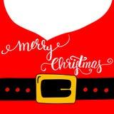 Iscrizione calligrafica della spazzola di Buon Natale sul fondo dorato del fermaglio di Santa Claus Red Outfit Black Belt Barba b Fotografie Stock Libere da Diritti