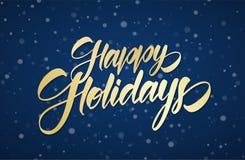 Iscrizione calligrafica scritta a mano dorata della spazzola delle feste felici sul fondo nevoso del cielo di inverno con i fiocc