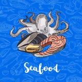 Iscrizione colorata disegnata a mano degli elementi dei frutti di mare di vettore Fotografia Stock Libera da Diritti