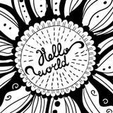 Iscrizione creativa disegnata a mano di vettore Ciao mondo Immagine Stock Libera da Diritti