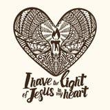 Iscrizione cristiana, arte di scarabocchio, tipografia Ho la luce di Gesù nel mio cuore royalty illustrazione gratis