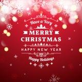 Iscrizione d'annata di tipografia di Buon Natale retro Fotografia Stock Libera da Diritti