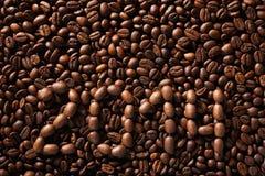 Iscrizione dai chicchi di caffè Immagini Stock