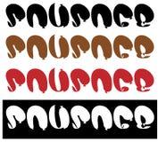 Iscrizione dalle salsiccie, logo della salsiccia del testo, minimalismo Fotografia Stock