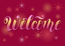 Iscrizione del benvenuto con le lettere rosa e gialle di pendenza Fotografia Stock