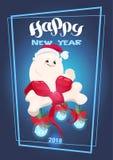 Iscrizione 2018 del buon anno con il cane nel simbolo dello zodiaco di festa dell'osso di Santa Hat Holding Big Decorated Fotografia Stock