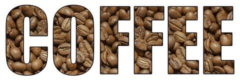 Iscrizione del caffè fatta dai grani Fotografia Stock Libera da Diritti