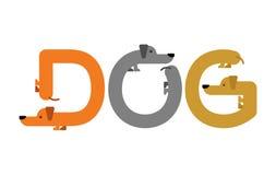 Iscrizione del cane Tipografia del bassotto tedesco Lettere dall'animale domestico a illustrazione di stock
