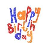 Iscrizione del compleanno con lettere buon Scheda di congratulazione Immagini Stock Libere da Diritti