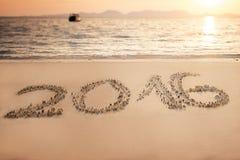 Iscrizione del 2016 con lettere sulla sabbia, la Tailandia Fotografia Stock