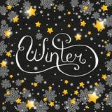 Iscrizione del gesso di Natale con i fiocchi di neve Fotografia Stock Libera da Diritti