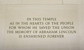 Iscrizione del memoriale di Lincoln Fotografie Stock