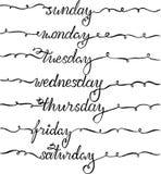 Iscrizione del nuovo anno per il calendario, pianificatore o organizzatore - tutti i giorni di settimana decorato con gli sciabor illustrazione di stock