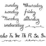 Iscrizione del nuovo anno per il calendario, pianificatore o organizzatore - tutti i giorni di settimana ed i suoi questionari ri illustrazione vettoriale