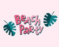 Iscrizione del partito della spiaggia con le foglie di monstera Stile comico illustrazione di stock