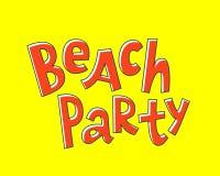 Iscrizione del partito della spiaggia Stile comico illustrazione di stock
