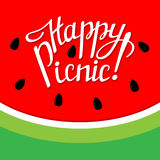 Iscrizione del picnic con lettere felice Immagine Stock