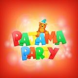 Iscrizione del pigiama party Modello della carta dell'invito illustrazione di stock