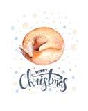 Iscrizione dell'acquerello di Buon Natale con la volpe acquerella di divertimento illustrazione vettoriale