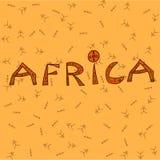 Iscrizione dell'Africa sui precedenti arancio v illustrazione vettoriale
