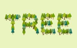 Iscrizione dell'albero Lettere da tipografia di Forest Nature Immagini Stock