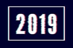 Iscrizione dell'estratto del buon anno di impulso errato, tipografia con effetto di distorsione, insetto, errore, linee monocroma royalty illustrazione gratis