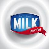 Iscrizione dell'etichetta del latte - vettore Immagini Stock