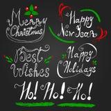 Iscrizione dell'insieme con lettere per le ferie del nuovo anno di Natale Fotografie Stock Libere da Diritti