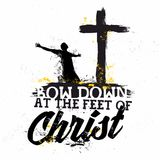 Iscrizione della bibbia Christian Art Inchini ai piedi di Cristo illustrazione di stock