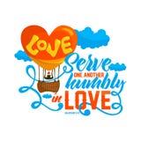 Iscrizione della bibbia Christian Art Servire uno un altro umile nell'amore royalty illustrazione gratis