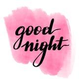 Iscrizione della buona notte con lettere dell'iscrizione watercolor illustrazione vettoriale