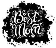 Iscrizione della mamma con lettere migliore sul punto nero del fondo fotografia stock