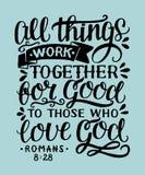 Iscrizione della mano con il verso che della bibbia tutte le cose funzionano insieme per sempre a loro che amore Dio illustrazione di stock