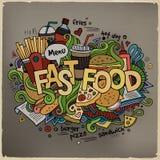 Iscrizione della mano degli alimenti a rapida preparazione ed elementi di scarabocchi Fotografia Stock