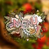 Iscrizione della mano del menu ed elementi di scarabocchi Immagini Stock