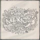 Iscrizione della mano del Messico ed elementi di scarabocchi Immagini Stock Libere da Diritti