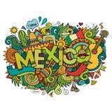 Iscrizione della mano del Messico ed elementi di scarabocchi immagini stock