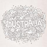 Iscrizione della mano dell'Australia ed elementi di scarabocchi Fotografia Stock