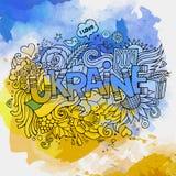 Iscrizione della mano dell'Ucraina ed elementi di scarabocchi Immagine Stock Libera da Diritti