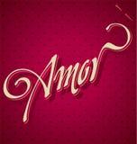 Iscrizione della mano di AMOR () Fotografia Stock Libera da Diritti