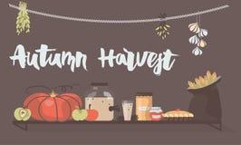 Iscrizione della mano di Autumn Harvest ed illustrazione di vettore di alimento Fotografia Stock