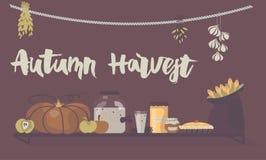 Iscrizione della mano di Autumn Harvest ed illustrazione di vettore di alimento Immagine Stock Libera da Diritti