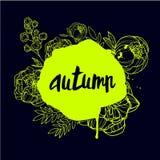 Iscrizione della mano di autunno Fotografie Stock