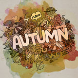 Iscrizione della mano di autunno ed elementi di scarabocchi Fotografia Stock