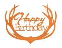 Iscrizione della mano di buon compleanno con l'effetto arancio di scintillio, isolato su fondo bianco Fotografia Stock Libera da Diritti