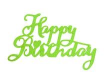 Iscrizione della mano di buon compleanno con l'effetto verde di scintillio, isolato su fondo bianco Fotografie Stock