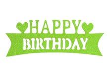 Iscrizione della mano di buon compleanno con l'effetto verde di scintillio, isolato su fondo bianco Fotografia Stock Libera da Diritti