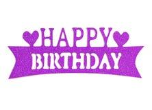 Iscrizione della mano di buon compleanno con l'effetto viola di scintillio, su fondo bianco Fotografia Stock Libera da Diritti