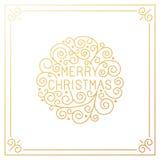 Iscrizione della mano di Buon Natale di vettore nello stile del profilo illustrazione di stock